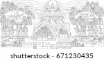 coloring black and white power... | Shutterstock .eps vector #671230435