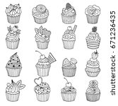 doodle set of cupcakes. hand... | Shutterstock .eps vector #671236435