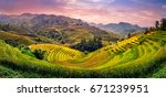 green rice fields on terraced... | Shutterstock . vector #671239951