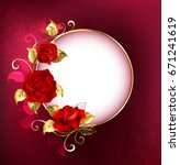 Stock photo round white banner with red roses and golden leaves on red textural background design with red 671241619