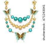 necklace of gold butterflies ...   Shutterstock . vector #671243041