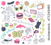 80s fashion hand drawn doodle... | Shutterstock .eps vector #671243485