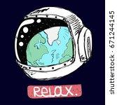 hand drawn space man... | Shutterstock .eps vector #671244145