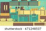 kitchen flat illustration | Shutterstock . vector #671248537