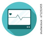 cardio monitor icon in flat... | Shutterstock .eps vector #671252455