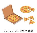 isometric pizza in the opened... | Shutterstock .eps vector #671255731