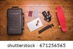 top view of vlogging equipment... | Shutterstock . vector #671256565