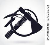 tomahawk axe silhouette logo | Shutterstock .eps vector #671266735