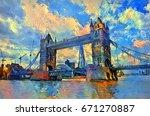 oil painting london tower bridge | Shutterstock . vector #671270887
