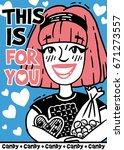 poster happy girl in love holds ... | Shutterstock .eps vector #671273557