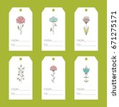 set of vector floral tags.... | Shutterstock .eps vector #671275171