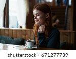 woman in cafe                   ... | Shutterstock . vector #671277739