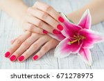 Beautiful Woman Hands With Pin...