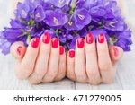 woman cupped hands with bright... | Shutterstock . vector #671279005