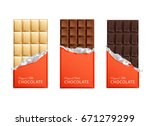 dark and milk candy chocolate... | Shutterstock .eps vector #671279299