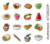 juice  pizza  berries are... | Shutterstock .eps vector #671282239