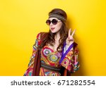 young hippie girl with... | Shutterstock . vector #671282554