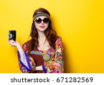 young hippie girl with... | Shutterstock . vector #671282569
