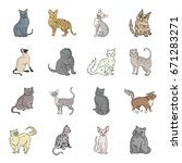 cat breeds set icons in cartoon ... | Shutterstock .eps vector #671283271