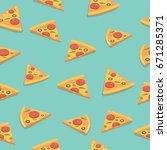 pizza slice bright seamless... | Shutterstock .eps vector #671285371