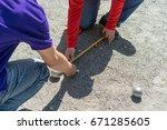 petanque  metal petanque balls | Shutterstock . vector #671285605