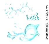 blue water splashing drops ... | Shutterstock .eps vector #671285791