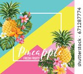 tropical pineapple fruits and... | Shutterstock .eps vector #671287774