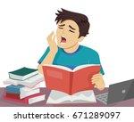 illustration featuring a sleepy ... | Shutterstock .eps vector #671289097