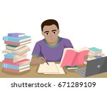 illustration featuring a young... | Shutterstock .eps vector #671289109