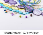 glass and seed beads  gemstone... | Shutterstock . vector #671290159