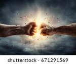 two fiery fists in impact with... | Shutterstock . vector #671291569
