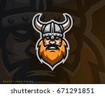 viking logo design. sport team... | Shutterstock .eps vector #671291851