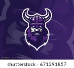 viking logo design. sport team... | Shutterstock .eps vector #671291857