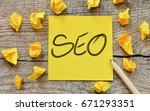 seo   notes about seo concept. | Shutterstock . vector #671293351
