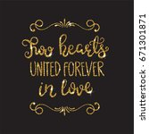romantic lettering with glitter.... | Shutterstock . vector #671301871