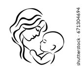 mother with her baby. stylized... | Shutterstock .eps vector #671304694