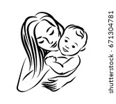 mother with her baby. stylized... | Shutterstock .eps vector #671304781