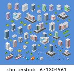 cityscape design elements with... | Shutterstock .eps vector #671304961