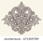 vector pattern of henna floral... | Shutterstock .eps vector #671305789