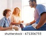 attractive international doctor ... | Shutterstock . vector #671306755