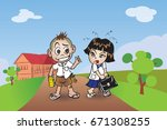 student boy and girl come back... | Shutterstock .eps vector #671308255