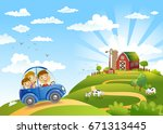 family traveling in the car to... | Shutterstock .eps vector #671313445