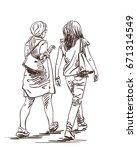 hand drawn two walking women...   Shutterstock .eps vector #671314549