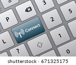 connect button on laptop... | Shutterstock .eps vector #671325175