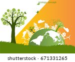 the global  windmill and solar... | Shutterstock .eps vector #671331265