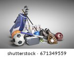 the concept of sports games in...   Shutterstock . vector #671349559