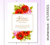 invitation with floral... | Shutterstock .eps vector #671353321