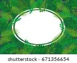 tropical leaves vector banner... | Shutterstock .eps vector #671356654