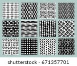 set of abstract seamless... | Shutterstock .eps vector #671357701