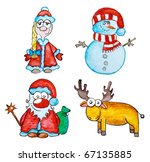 watercolor christmas  snowman ... | Shutterstock . vector #67135885